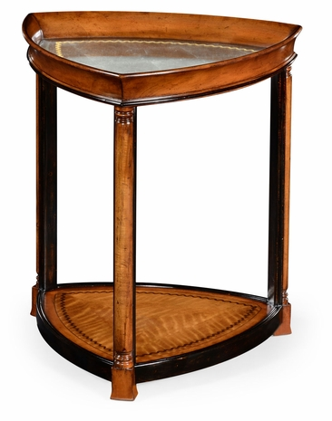 492107-WLL Jonathan Charles Windsor Walnut & Eglomise Triangular Lamp Table