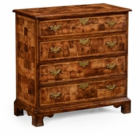 492132-WAL Jonathan Charles Country Farmhouse Oyster Veneer Small Chest Of Drawers