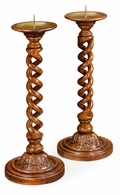 492142-WLL Jonathan Charles Country Farmhouse Pair Of Open Barley Twist Light Walnut Candlesticks