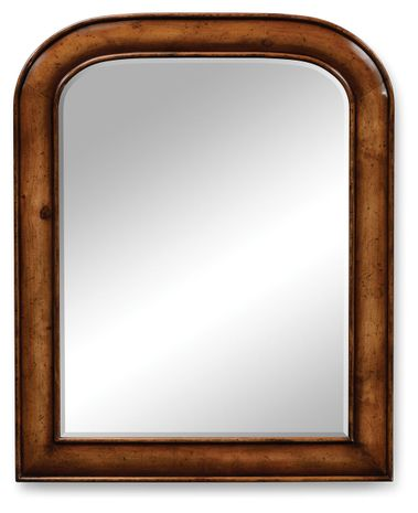 492169-WAL Jonathan Charles Country Farmhouse Small Walnut Mirror With Curved Top