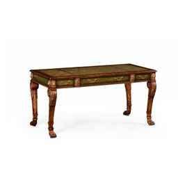 492173-WAL Jonathan Charles Traditional Windsor Collection Italian Lions Paw Desk (Leather & Walnut)