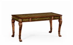 492173-WAL Jonathan Charles Windsor Italian Lions Paw Desk (Leather & Walnut)