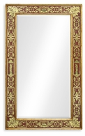 492205-GIL-GER-GES Jonathan Charles Buckingham Rectangular Eglomise Mirror With Gilt Renaissance Decoration (Red)