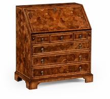 492220-WAL Jonathan Charles Country Farmhouse William & Mary Walnut & Oyster Bureau