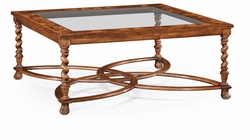 "492225-WAL-GCL Jonathan Charles Buckingham Square Oyster Coffee Table Glass Top (52"")"