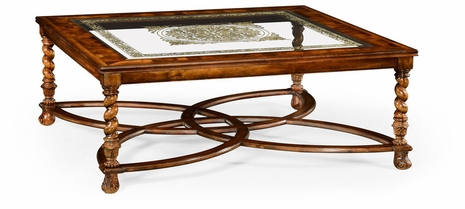 "492225-WAL-GED Jonathan Charles Buckingham Square Oyster & Eglomise Coffee Table (52"")"