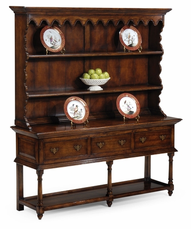492235-WAL Jonathan Charles Country Farmhouse Country Walnut Open Welsh Dresser