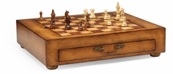 492241-WLL Jonathan Charles Windsor Light Walnut Games Box With Drawer