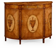 492253-SAM Jonathan Charles Versailles Adam Style Satinwood & Marquetry Demilune Cabinet