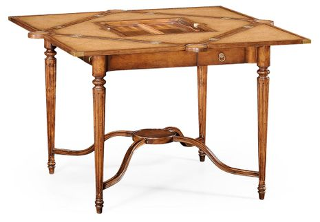 492264-WAL Jonathan Charles Windsor Walnut Leather Games Table With Geometric Inlays