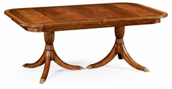 492266-75L-CWM Jonathan Charles Windsor Regency Crotch Walnut Extending Dining Table