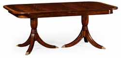 492266-75L-MAH Jonathan Charles Regency crotch mahogany single leaf extending dining table