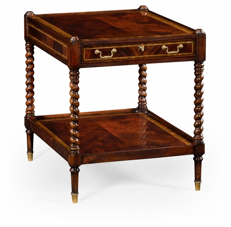 492268-MAH Jonathan Charles Buckingham Regency Style Square Side Table (Mahogany)