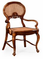 492276-AC-WAL Jonathan Charles Country Farmhouse French Style Salon Chair With Caned Back (Arm)