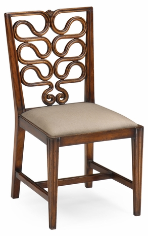 492288-SC-WAL-F001 Jonathan Charles Windsor Serpentine Open Back Dining Chair (Side)