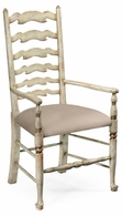 492296-AC-PCS Jonathan Charles Country Farmhouse Grey Painted Ladder Back Chair (Arm)