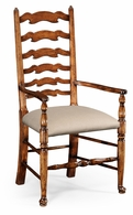 492296-AC-WAL-F001 Jonathan Charles Country Farmhouse Walnut Country Ladder Back Chair (Cushion)