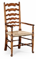 492296-AC-WAL Jonathan Charles Country Farmhouse Walnut Country Ladderback Chair (Arm)