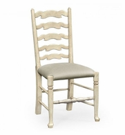 492296-SC-PCS-F001 Jonathan Charles Country Farmhouse Grey Painted Ladder Back Chair (Side)