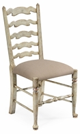 492296-SC-PCS Jonathan Charles Country Farmhouse Grey Painted Ladder Back Chair (Side)