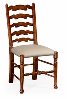 492296-SC-WAL-F001 Jonathan Charles Country Farmhouse Walnut Country Ladder Back Chair (Cushion)