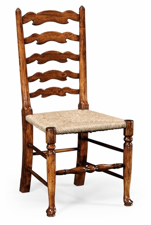 492296-SC-WAL Jonathan Charles Country Farmhouse Walnut Country Ladder Back Chair (Side)