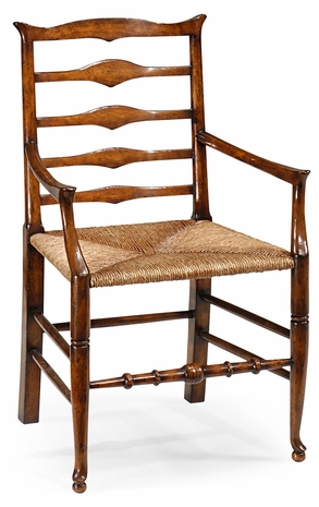 492300-AC-WAL Jonathan Charles Country Farmhouse Triangular Detail Ladder Back Chair With Rush Seat (Arm)