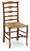 492300-SC-WAL Jonathan Charles Country Farmhouse Triangular Detail Ladder Back Chair With Rush Seat (Side)