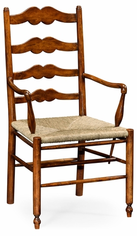 492304-AC-WAL Jonathan Charles Country Farmhouse Ladder Back Country Chair With Angled Arms (Arm)