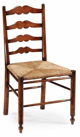 492304-SC-WAL Jonathan Charles Ladder back country chair with rushed seat