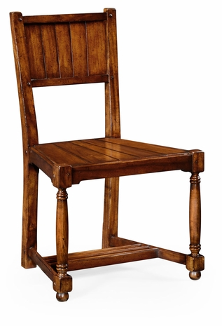 492312 Jonathan Charles Country Farmhouse Planked Walnut Chair (Side)