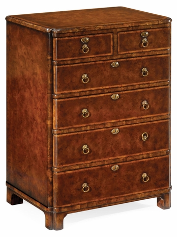 492421-BWM Jonathan Charles Windsor Bow Front Walnut Chest Of Six Drawers