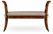 492424-WAL-F001 Jonathan Charles Windsor Regency Caned Walnut Bench With High Arms