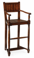 492433-AC-WAL Jonathan Charles Country Farmhouse Planked Walnut Barstool With Baluster Legs (Arm)