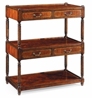 492442-MAH Jonathan Charles Buckingham Regency Style Mahogany Three-Tier Etagere Four Drawers