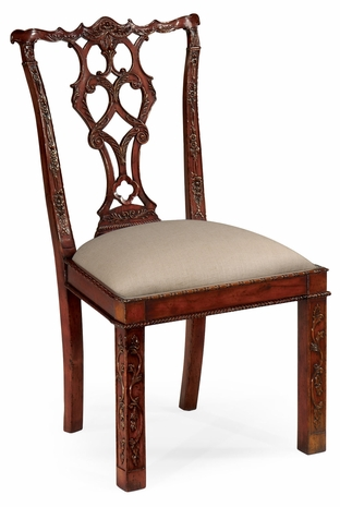 492472-SC-MAH-F001 Jonathan Charles Buckingham Chippendale Style Rococo Quatrefoil Chair (Side)