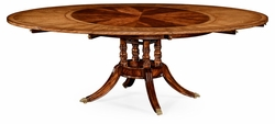 "492510-53D-MAH Jonathan Charles Buckingham 53"" Mahogany And Satinwood Round To Oval Dining Table"