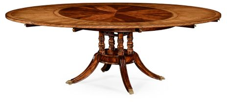 """492510-53D-MAH Jonathan Charles 53"""" Mahogany and satinwood round to oval dining table"""