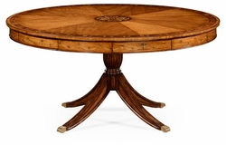 "492515-62D-SAM Jonathan Charles Versailles 62"" Satinwood Pedestal Dining Table With Placemats"