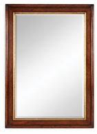 492527-WAL Jonathan Charles Windsor Plain Walnut Rectangular Mirror With Gilt Inset