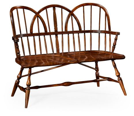 492564-WAL Jonathan Charles Country Farmhouse Windsor Two Seat Bench
