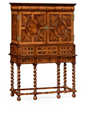 492583-WAL Jonathan Charles Windsor William & Mary Walnut & Oyster Tv Cabinet
