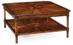 492599-WAL Jonathan Charles Square rustic walnut coffee table