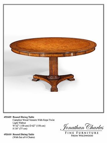 """492609-62D Jonathan Charles Langton 62"""" Rope Twist Round Dining Table"""