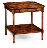 492616-WAL Jonathan Charles Country Farmhouse Rustic Walnut Two-Tier Table