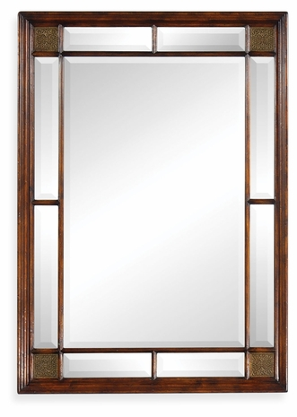 492667-WAL Jonathan Charles Windsor Rectangular Walnut Panelled Mirror With Brass Details