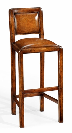 492685 Jonathan Charles Casual Walnut Bar Side Chair With Leather Upholstery