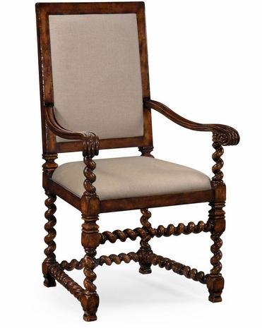 492725 Jonathan Charles Country Farmhouse Carolean Style Chair With Upholstered Back (Arm)