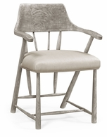 492783-GYO-F001 Jonathan Charles Sherwood Oak Grey Oak Dining Armchair With Fabric Seat, Upholstered In Mazo