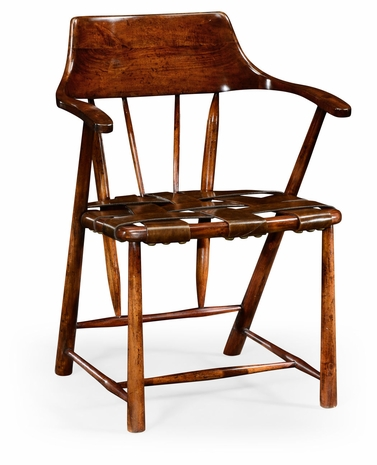 492783-WAL-L002 Jonathan Charles Walnut smokers armchair with webbed antique chestnut medium leather seat